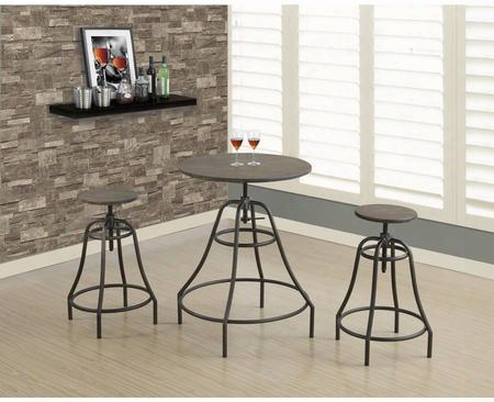"I 1085 38"" 3 Pcs Dining Set With Adjustable Table Height Contemporary Style And Sturdy Metal Legs In"