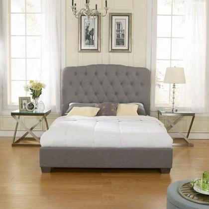 Lillian Collection Hc8954a3 Double Size Upholstered Platform Bed With Tufted Headboard Linen Material And Modern Style In