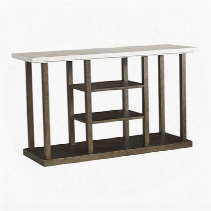 "Logan Square Collection 6284-0698 56"" Entertainment Console With 2 Adjustable Wood Shelves Faux Marble Top And Faux Distress Metal"
