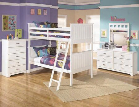 Lulu Twin Bedroom Set With Bunk Bed Dresser Mirror Single Nightstand And Chest In