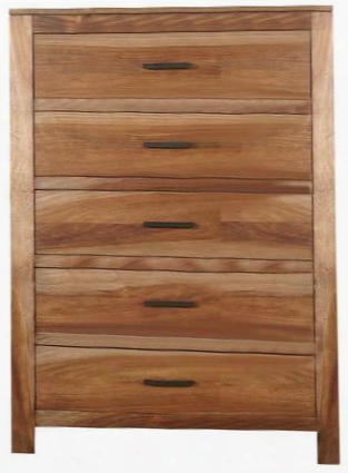 """Peyton Collection 203655 36"""" Chest With 5 Drawers Antique Metal Hardware Solid Mahogany And Veneered Top In Natural Brown"""