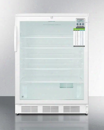 """Scr600lbiplusada 24"""" With 5.5 Cu. Ft. Capacity Commercially Approved Glass Door Automatic Defrost Internal Fan With Heat Sink Interior Light Adjustable"""