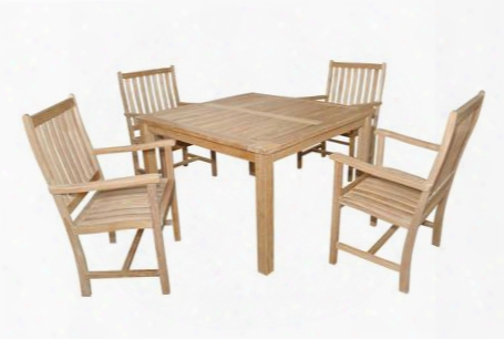 "Set-61 5-piece Dining Set With 47"" Windsor Square Table And 4 Wilshire Dining"