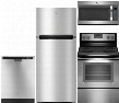 "4 Piece Stainless Steel Kitchen package With WFE515S0ES 30"" Electric Range WMH31017FS Over The Range Microwave Oven WRT518SZFM Top Freezer Refrigerator and"