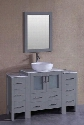 "AGR130BWLCM2S 54"" Single Vanity with Carrara Mable Top Oval White Ceramic Vessel Sink F-S02 Faucet Mirror 2 Doors and 8 Drawers in"