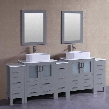 "AGR230RC3S 96"" Double Vanity with Phoenix Stone Top Rectangle White Ceramic Vessel Sink F-S02 Faucet Mirror 4 Doors and 13 Drawers in"