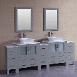 "AGR230S3S 96"" Double Vanity with Phoenix Stone Top Flared Square White Ceramic Vessel Sink F-S02 Faucet Mirror 4 Doors and 13 Drawers in"