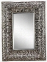 "Kenna Manor Collection 13455 76""x 43"" Wall Mirror with Fleur Patterned Frame Rectangular Shape and Warm Umber Tones in"