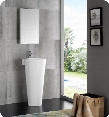 "Messina Collection FVN5022WH 16"" Modern Bathroom Vanity with Pedestal Sink Medicine Cabinet and"