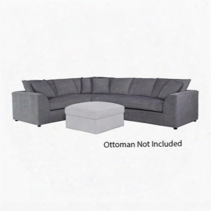"""Uptown Collection 3943-lsectfc/fc149-9 124"""" L-shaped Sectional Sofa With Fabric Upholstery Shark Fin Designed Arms Plush Seat And Back Cushions And Piped"""