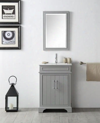 "Wh7724-cg 24"" Sink Vanity With Quartz Top Rectangle Ceramic Sink And 1 Pre-drilleed Faucet Holes In Cool"