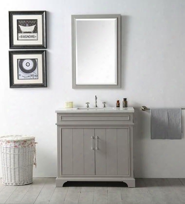 "Wh7736-wg 36"" Sink Vanity With Quartz Top Rectangle Ceramic Sink And 3 Pre-drilled Faucet Holes In Warm"