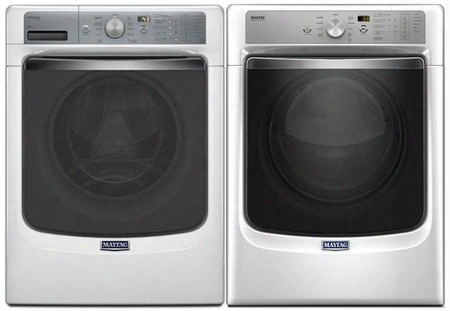 "White Front Load Laundry Pair With Mhw8150ew 27"" Washer And Med8200fw 27"" Electric"