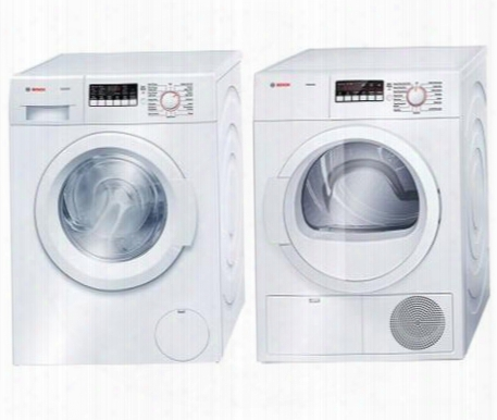 "White Front Load Laundy Pair With Wat28400uc 24"" 300 Series Washer And Wtb86200uc 24"" Ascenta Series Electric"