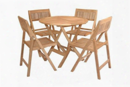 """Windsor Collection Set-24 5-piece Bistro Table Set With 31"""" Round Picnic Folding Table And 4 Folding Side"""