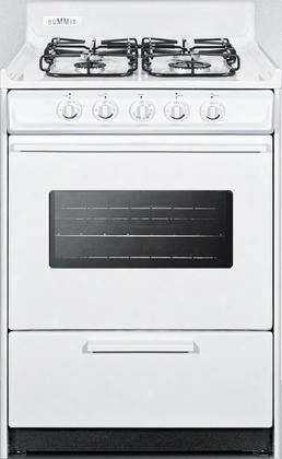 """Wtm6107sw 24"""" Gas Range With 4 Sealed Burners 2.92 Cu. Ft. Oven Capacity Broiler Compartment Porcelain Construction Electronic Ignition And Oven Viewing"""