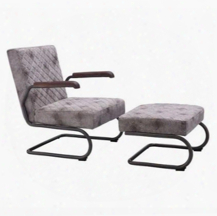 100407 Father Collection 23quot; Lounge Chair With Ottoman Included Cantilever Tyle Frame And Quilted Textured Fabric In Vintage
