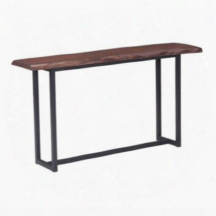 """100437 Papillion Collection 56"""" Console Table With Slim Geometric Base Design And Rectangular Wood Top In Rich Dark Distressed Cherry Oak"""