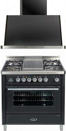 "2-piece Matte Graphite Kitchen Package With Umt90fdvggm 36"" Freestanding Gas Range (4 Burners Griddle Timer) And Uam90m 36"" Wall Mount Range"