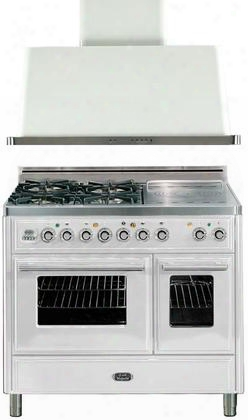 """2-piece True White Kitchen Package With Umtd100sdmpb 40"""" Freestanding Dual Fuel Range (4 Burners French Cooktop Warming Drawer) And Uam100b 40"""" Wall Mount"""