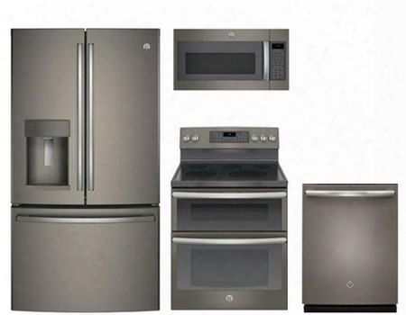 "4 Piece Kitchen Package With Jb860ejes 30"" Electric Freestanding Range Jvm7195ekes Over The Range Microwave Oven Gdt655smjes 24"" Built In Full Console"