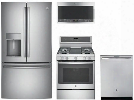 "4 Piece Kitchen Package With Pgb911zejss 30"" Gas Freestanding Range Pvm9005sjss Over The Range Microwave Oven Pdt846ssjss 24"" Built In Full Console"
