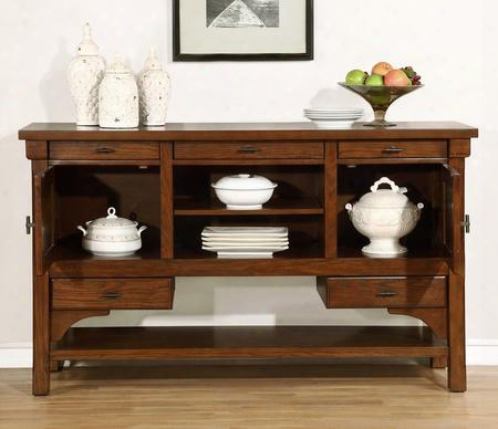 "Abrams Collection 106485 64.75"" Server With 5 Drawers 2 Doors Kenlin Drawer Glides And Bronze Matte Hardware In Truffle"