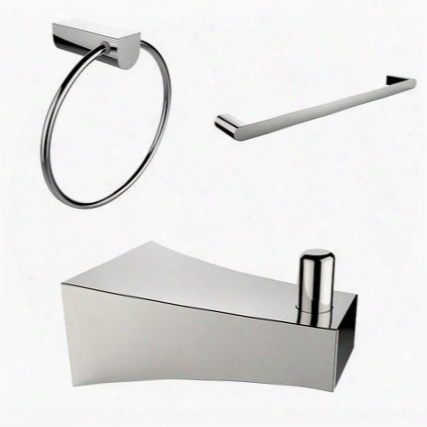 Ai-13540 Chrome Plated Robe Hook Towel Ring And A Single Rod Towel Rack Accessory