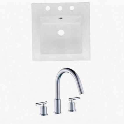 Ai-16028 16.5-in. Width X 16.5-in. Diameter Ceramic Top Set In White Color With 8-in. O.c. Cupc
