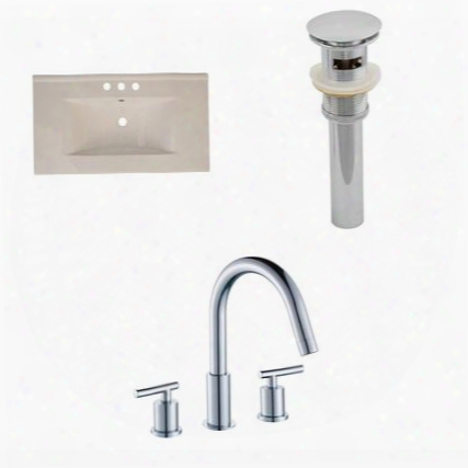 Ai-16608 35.5-in. Width X 19.75-in. Diameter Ceramic Top Set In Biscuit Color With 8-in. O.c. Cupc Faucet And