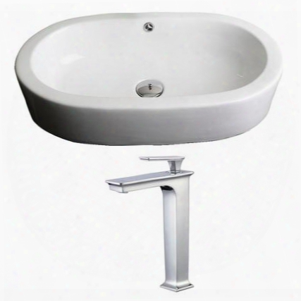 Ai-17810 25.25-in. Width X 14.5-in. Diameter Oval Vessel Set In White Color With Deck Mount Cupc