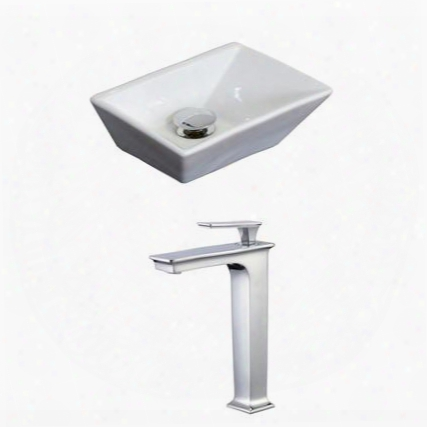 Ai-17874 12-in. Width X 9-in. Diameter Rectangle Vessel Set In White Color With Deck Mount Cupc