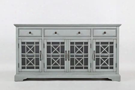 "Craftsman Collection 375-60 60"" Media Unit With Four Glass Doors Three Drawers Adjustable Shelves And Wire Management In Earl"