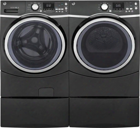 "Diamond Gray Front Load Laundry Pair With Gfw450spkdg 27"" Washer Gfd45gspkdg 27"" Gas Dryer And 2 Sbsc137hdg Laundry"