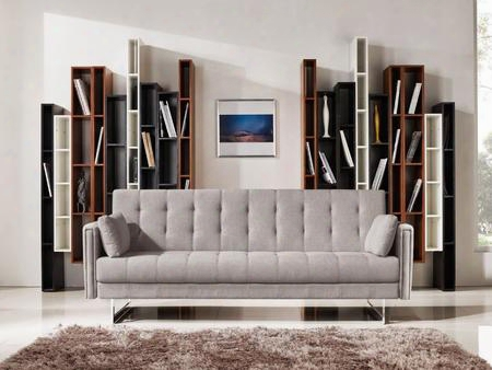 "Divani Casa Tejon Vgmb-1600b-bge 86"" Sofa Bed With Stainless Steel Legs Track Arms Solid Wood Frame And Fabric Upholstery In Beige"
