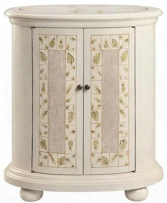 "Fallon 13362 48"" Cabinet With Leaf Pattern Design One Fixed Shelf And Bun Feet In"