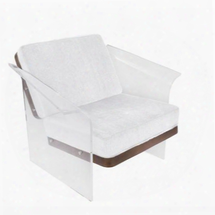 "Float Chr-float Wl+w 32"" Chair With Mohair Fabric Upholstery Walnut Wood And Clear Acrylic In"