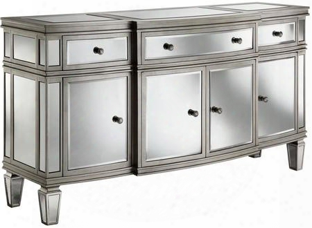 "Gabrielle 13277 66"" Sideboard With Beveled Mirrors Hand Painted And Tapered Legs In Silver"