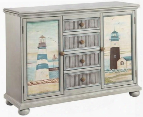 "Hatteras 13366 35"" Cabinet With Scallop Shell Hardware Grooved Door Fronts And Hand-painted In"