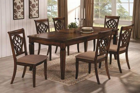 Hayden 103391set 7 Pc Dining Room Set With Table + 6 Side Chairs In Walnut