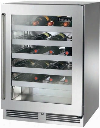 "Hp24ws-3-3rc 24"" Signature Series Indoor Wine Cooler With 40 Bottle Capacity 1000 Btu Variable Compressor Rapidcool Refrigeration System Stainless Steel"