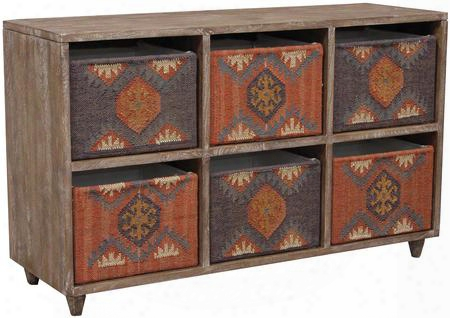 "Illan 13322 52"" Storage Console With Storage Baskets Reversible Canvas And Tribal Design In"