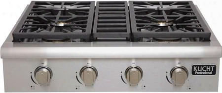"Krt3003u 30"" Professional Series Gas Rangetop With 4 Sealed Burners Black Porcelain Top Heavy Duty Cast-iron Grates And High Quality Control Knobs In"