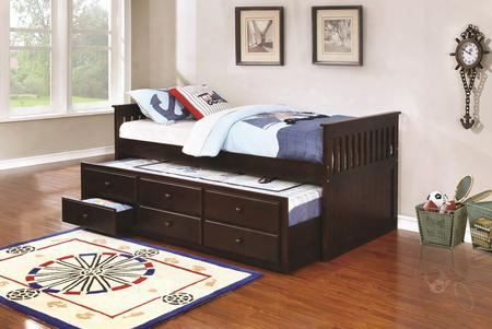 La Salle Collection 300106 Twin Size Captain's Bed With Trundle Storage Drawers Simple Slatted Ends And Solid Wood Construction In Cappuccino
