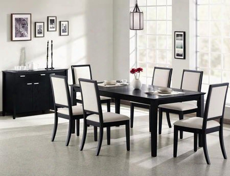 Lexton 101561setb 8 Pc Dining Room Set With Table + Server + 6 Side Chairs In Black