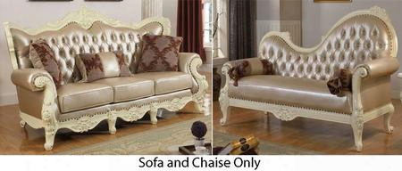 Madrid 674-s-ch 2 Piece Living Room Set With Sofa And Chaise In Rich Pearl
