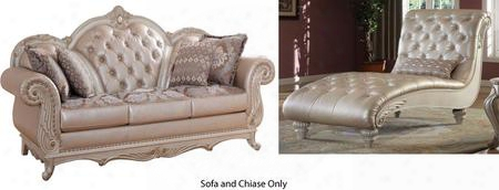 Marquee Collection 652-s-ch 2 Piece Living Room Set With Sofa And Chaise In Pearl