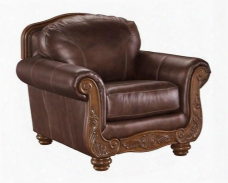 "Mellwood Collection 6460520 43"" Chair With 100% Leather Stitched Detailing Bun Feet Coil Seating Carved Detailing And Traditional Style In"