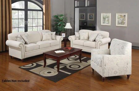 Norah 502511set 3 Pc Living Room Set With Sofa + Lvoeseat + Armchair In Oatmeal
