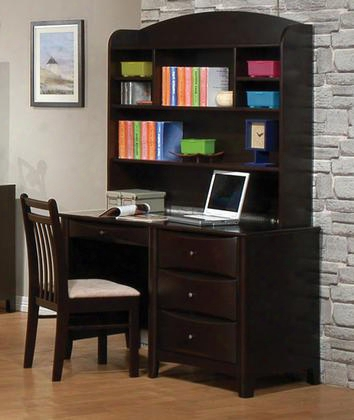 Phoenix 400187set 3 Pc Desk Set With Computer Desk + Hutch + Chair In Cappuccino